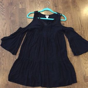 Black Cold Shoulder Peasant Dress